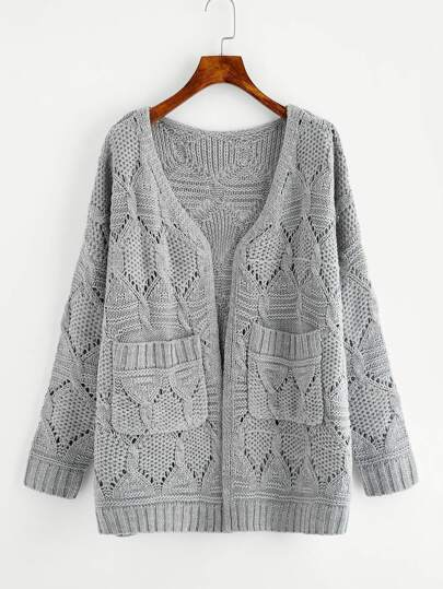 Eyelet Pocket Front Mixed Knit Sweater Coat pictures