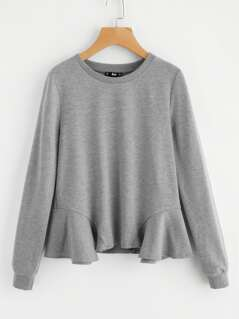 Ruffle Hem Heather Knit Pullover
