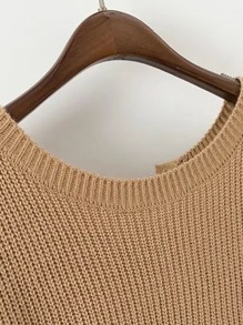 Lace Up Plunge Drop Shoulder Sweater pictures