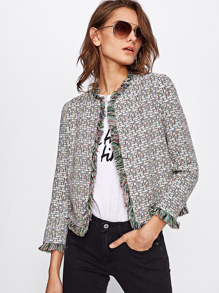 Frayed Trim Open Front Blazer