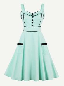 Contrast Trim Button Front Circle Dress