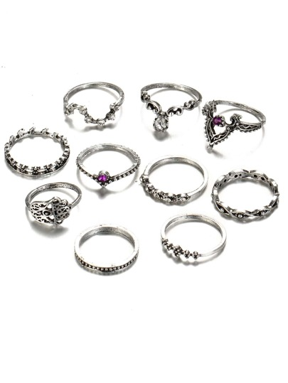 Rhinestone Multi Shaped Ring Set 10pcs