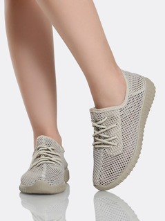 Mesh Knit Lace Up Sneakers TAUPE
