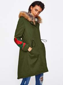 Faux Fur Hoodie Fleece Lined Embroidered Parka Coat