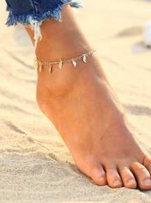 Metal Leaf Detail Double Layer Anklet