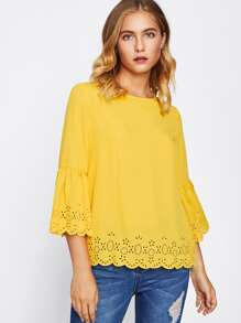 Scallop Laser Cut Keyhole Back Trumpet Sleeve Blouse