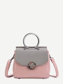 Модная кожаная сумка с ручкой