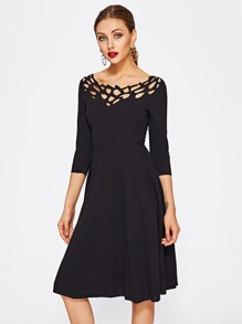 Laser Cut Neck Fit & Flare Dress