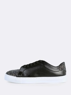 Glitter Accent Lace Up Sneakers BLACK