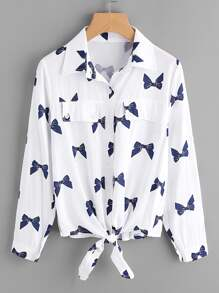 All Over Bow Print Rolled Sleeve Knotted Shirt