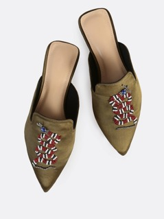 Bead Embellished Point Toe Loafers OLIVE