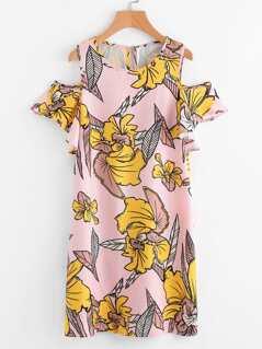 Open Shoulder Flutter Sleeve Dress