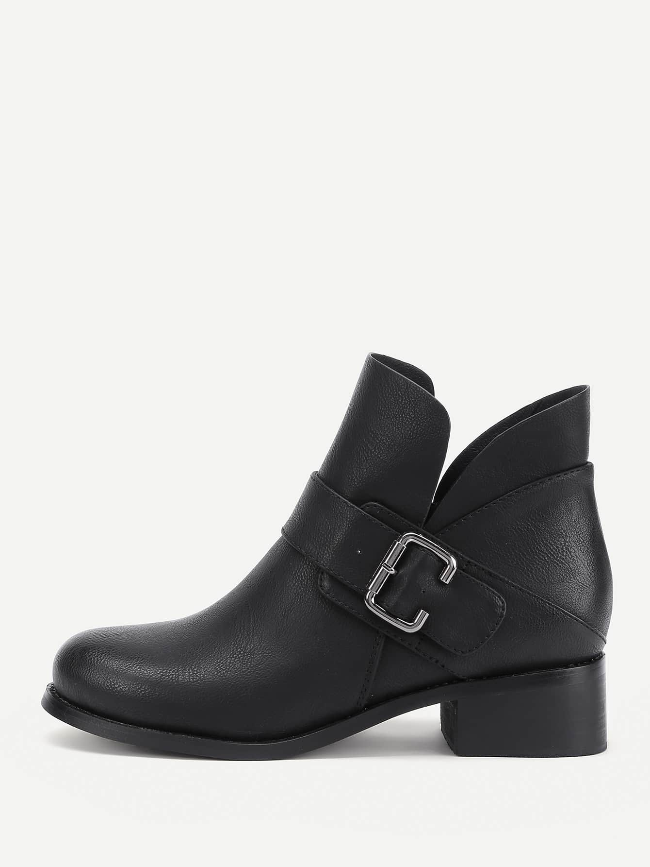 все цены на Side Buckle Decorated PU Ankle Boots