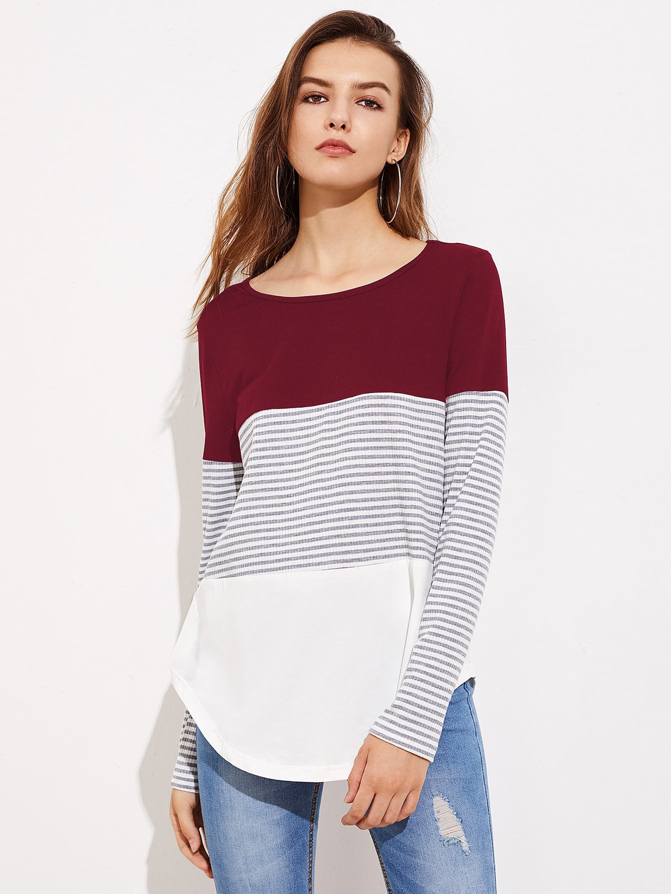 Striped Cut And Sew Curved Hem Tee блендер first fa 5243 2