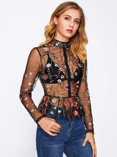 Botanical Embroidery Transparent Peplum Top