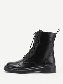 Lace Up PU Boots