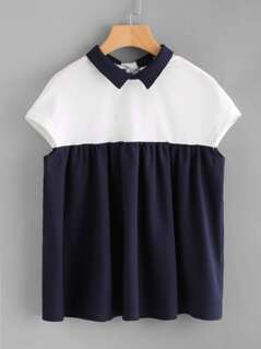 Two Tone Keyhole Bow Back Smock Top