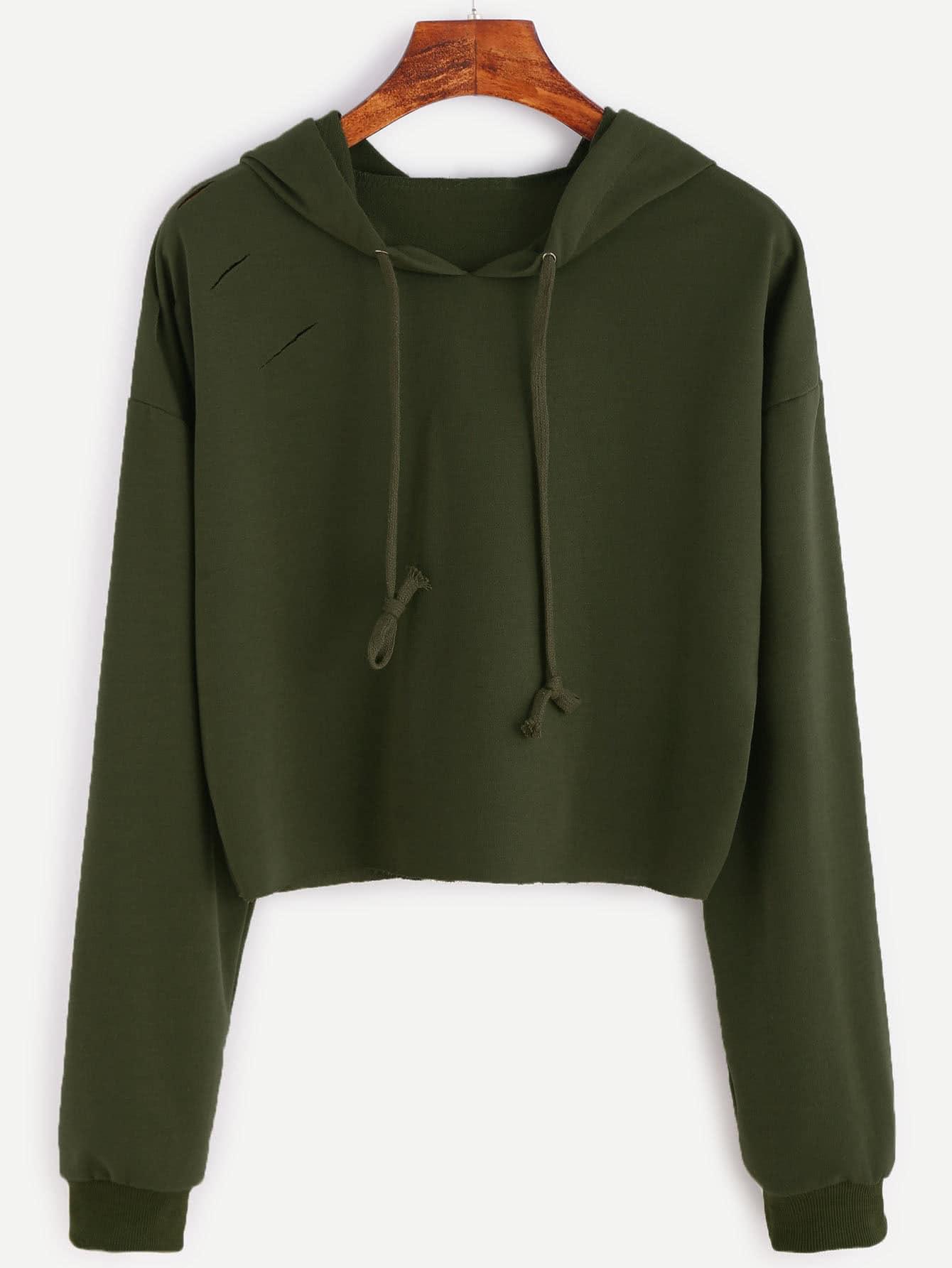 Купить Повседневный Ровный цвет Пуловеры Зеленый Свитшоты, null, SheIn