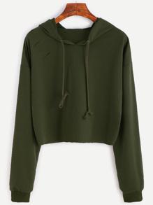 Army Green Drop Shoulder Ripped Hooded Crop Sweatshirt