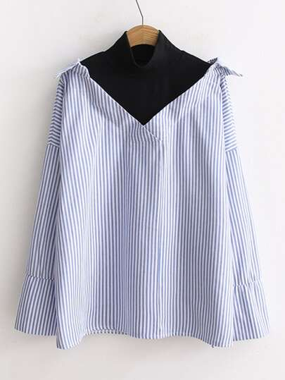 Contrast Panel 2 In 1 Striped Blouse