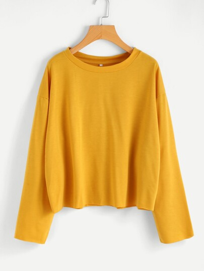 Drop Shoulder Raw Trim Sweatshirt