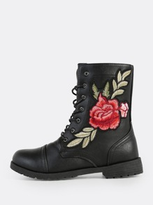 Rose Embroidered Lace Up Ankle Boots BLACK