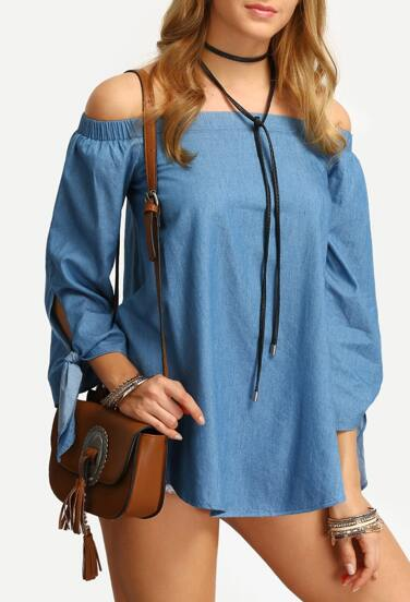 Off The Shoulder Tie Cuff Blouse
