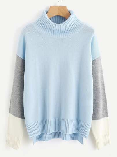 Roll Neck Color Block Staggered Jumper