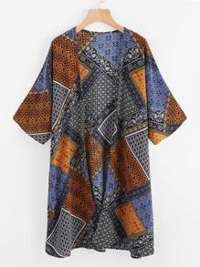 Patchwork Print Beach Kimono