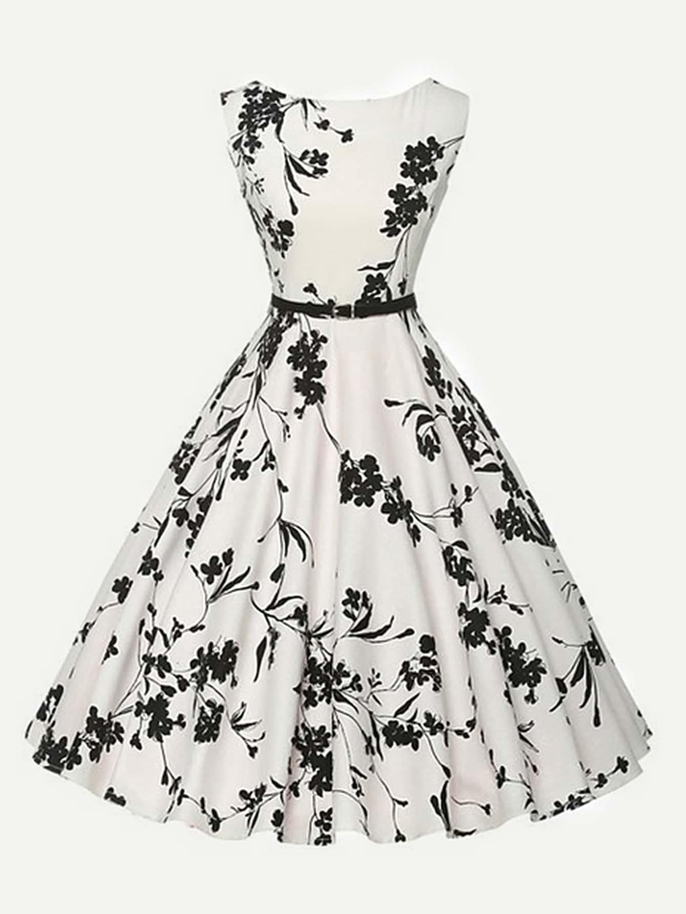 All Over Florals Circle Dress With Belt all over florals m slit dress