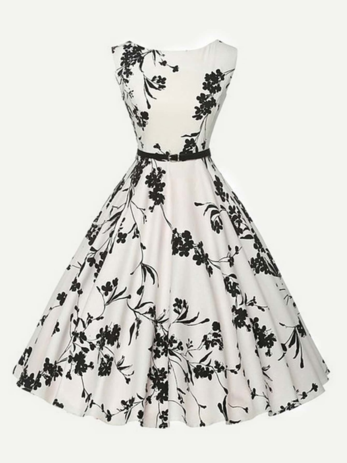 全覆蓋 花葉 圓圈 洋裝 附有 腰帶