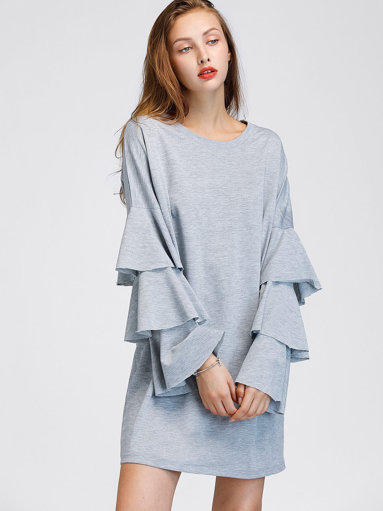 Tiered Fluted Sleeve Marled Tee Dress thumbnail