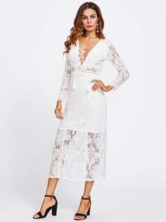 Tassel Tie V Neck Lace Maxi Dress