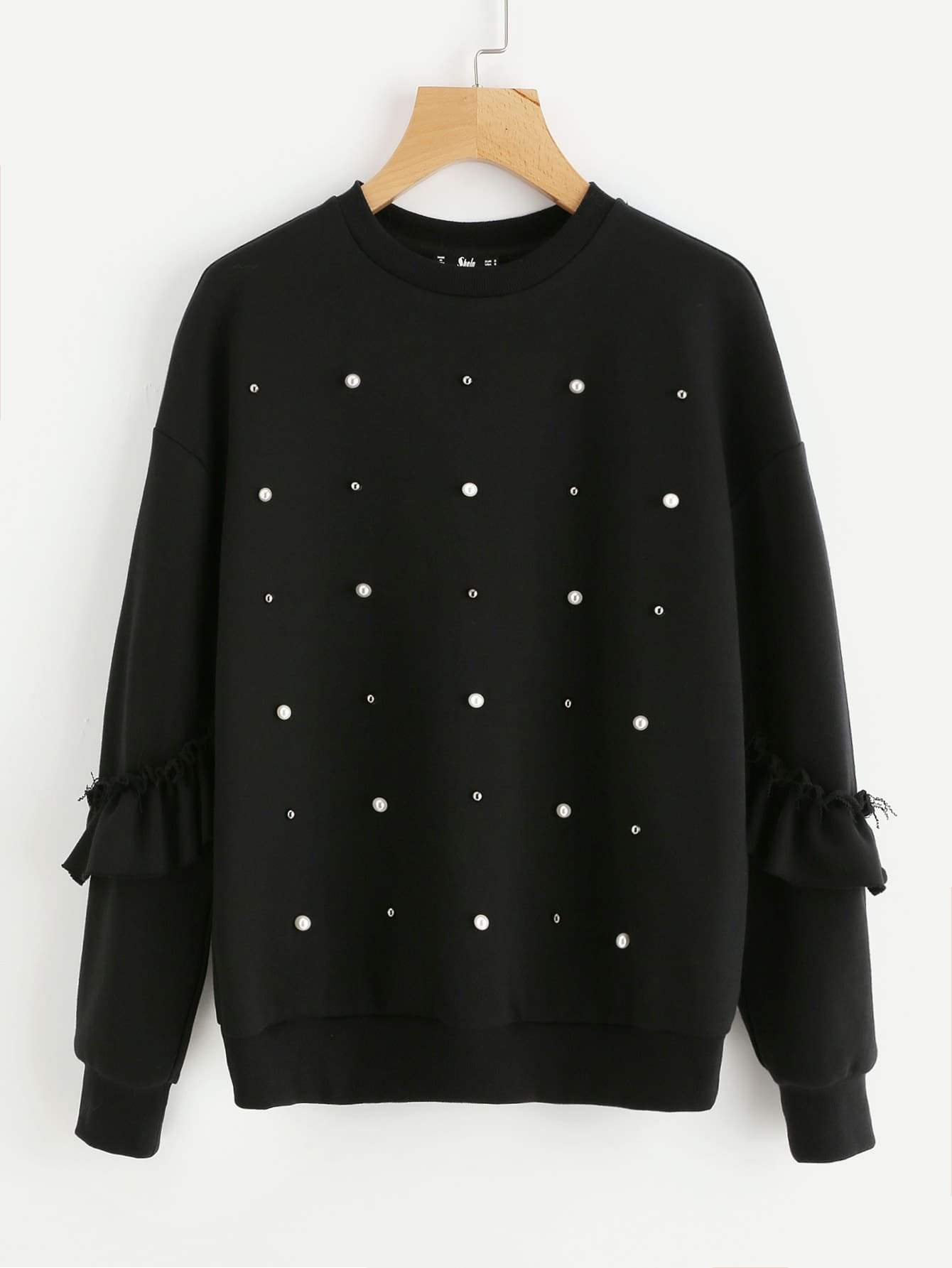 Pearl And Stud Detail Frilled Sleeve Sweatshirt drop shoulder frilled sleeve sweatshirt