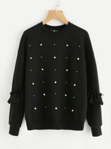 Pearl And Stud Detail Frilled Sleeve Sweatshirt