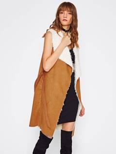 Self Belted Pocket Side Faux Shearling Vest