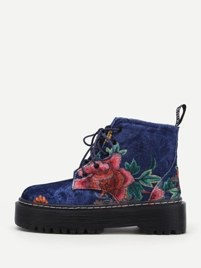 Flower Pattern Velvet Ankle Boots
