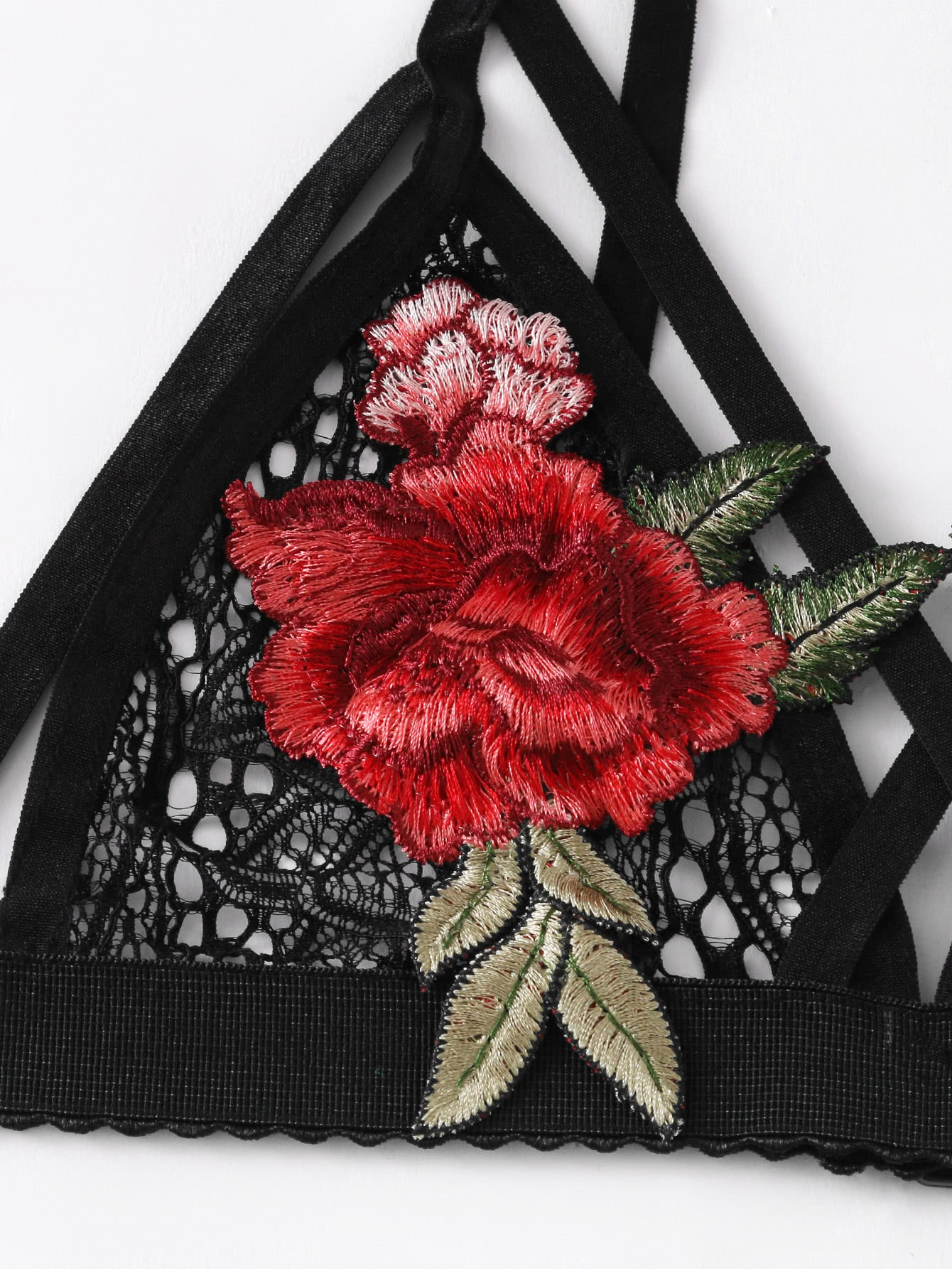 Embroidered Rose Applique Lace Bralette