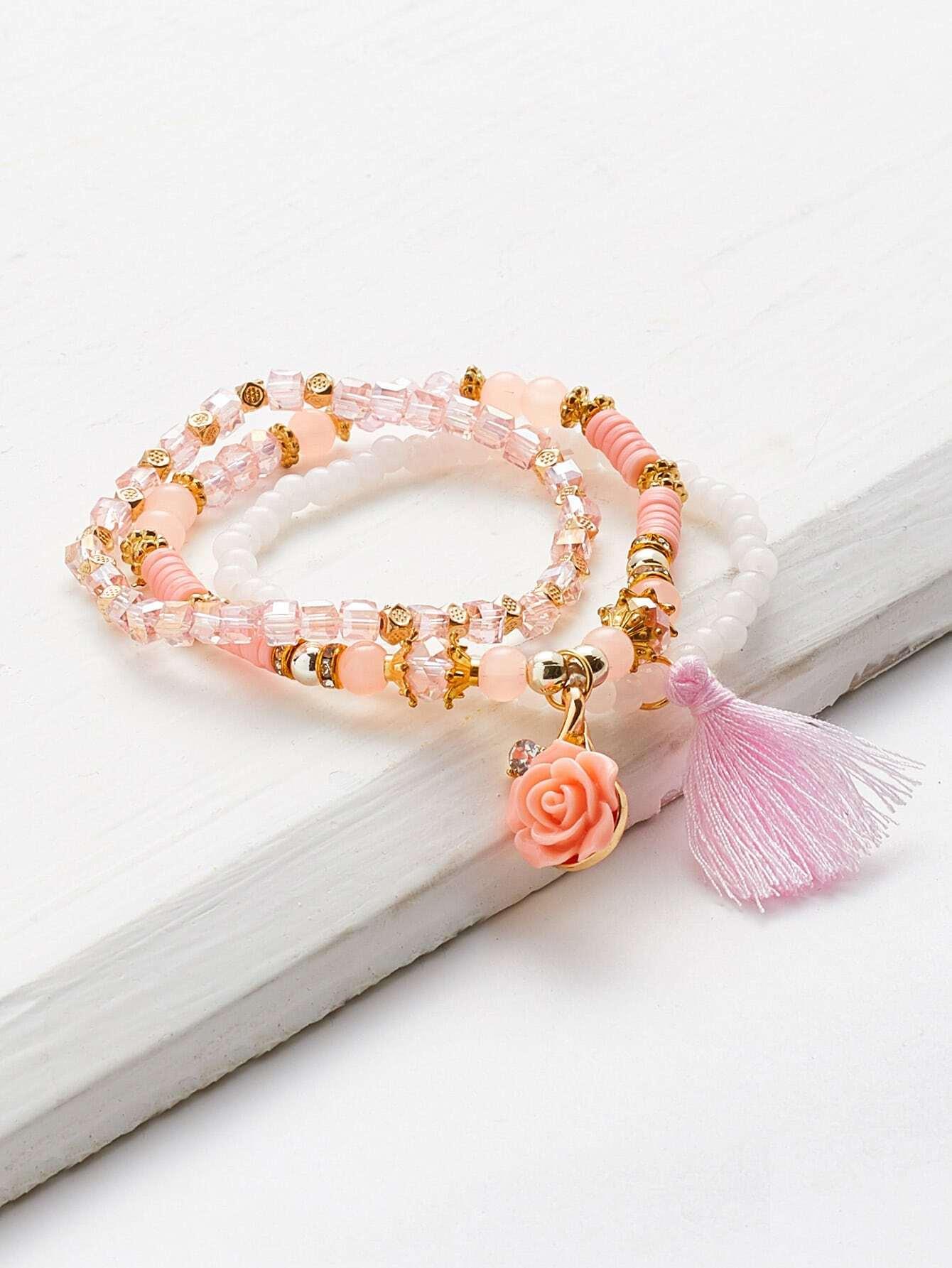 Tassel & Flower Detail Elastic Beaded Bracelet