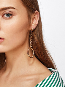 Open Ring Chain Design Drop Earrings