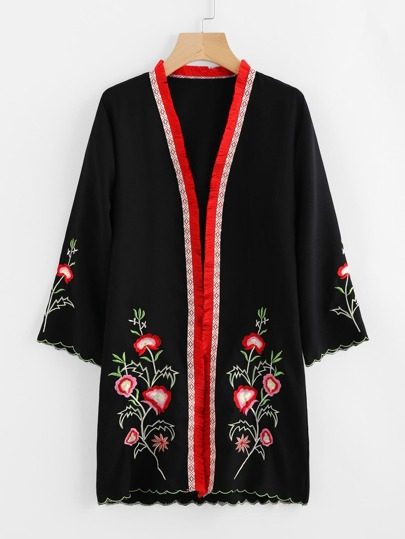 Scallop Trim Embroidered Tape Fringe Kimono