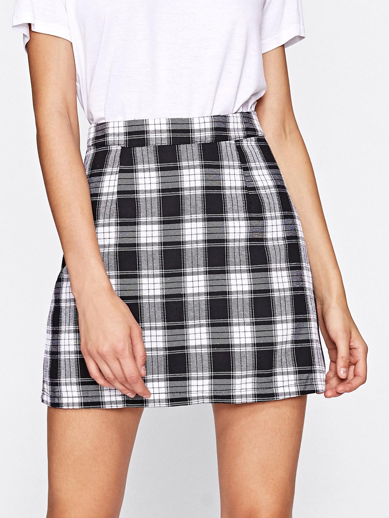 Tartan Plaid Zipper Back Skirt split back plaid skirt