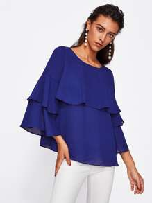 Tiered Fluted Sleeve Flounce Blouse