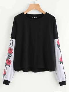 Contrast Flower Print Sleeve Sweatshirt