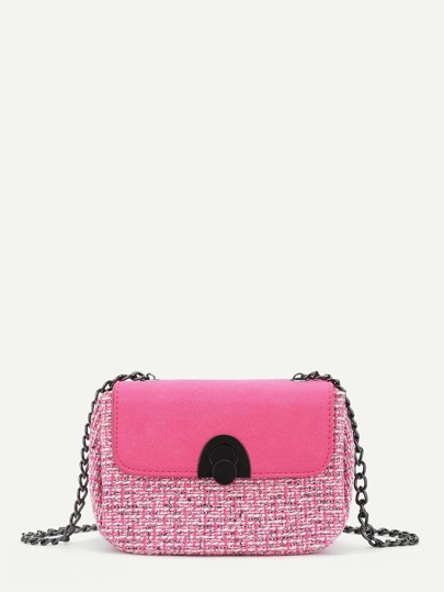 Gingham Pattern Chain Crossbody Bag