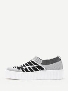 Striped Print Knit Slip On Sneakers