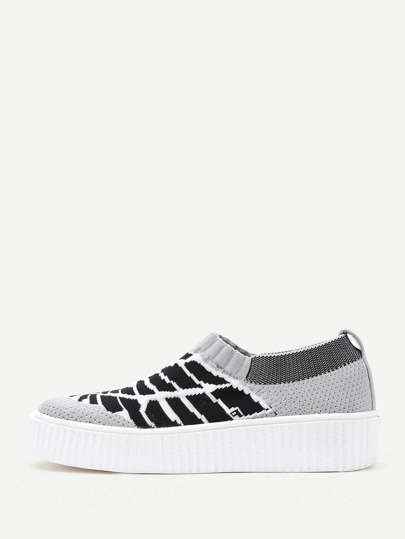 Striped Print Knit Slip On Sneakers