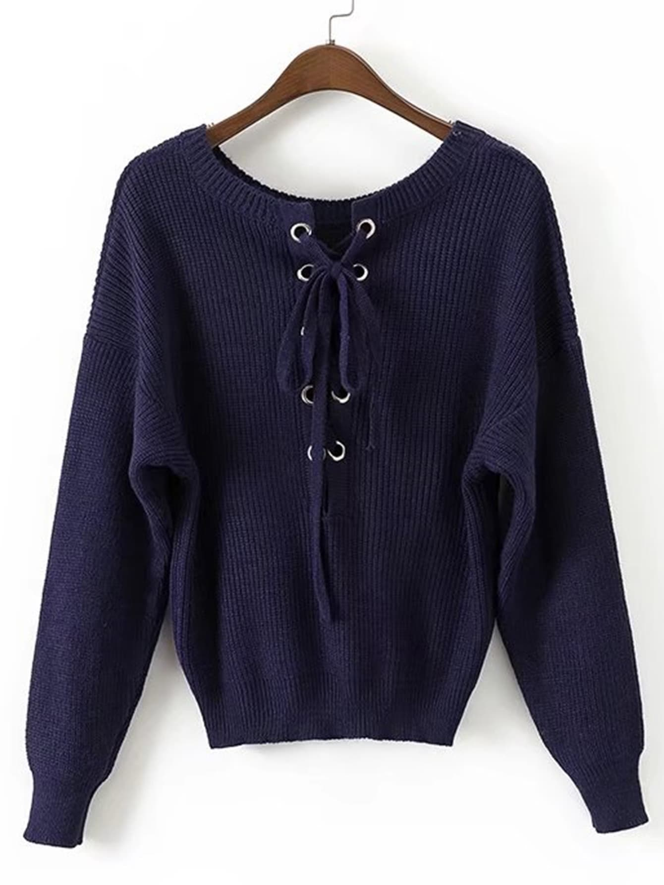 Eyelet Lace Up Ribbed Sweater sweater170825207