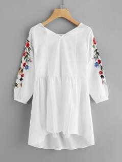 Embroidered Fringe Dip Hem Dress