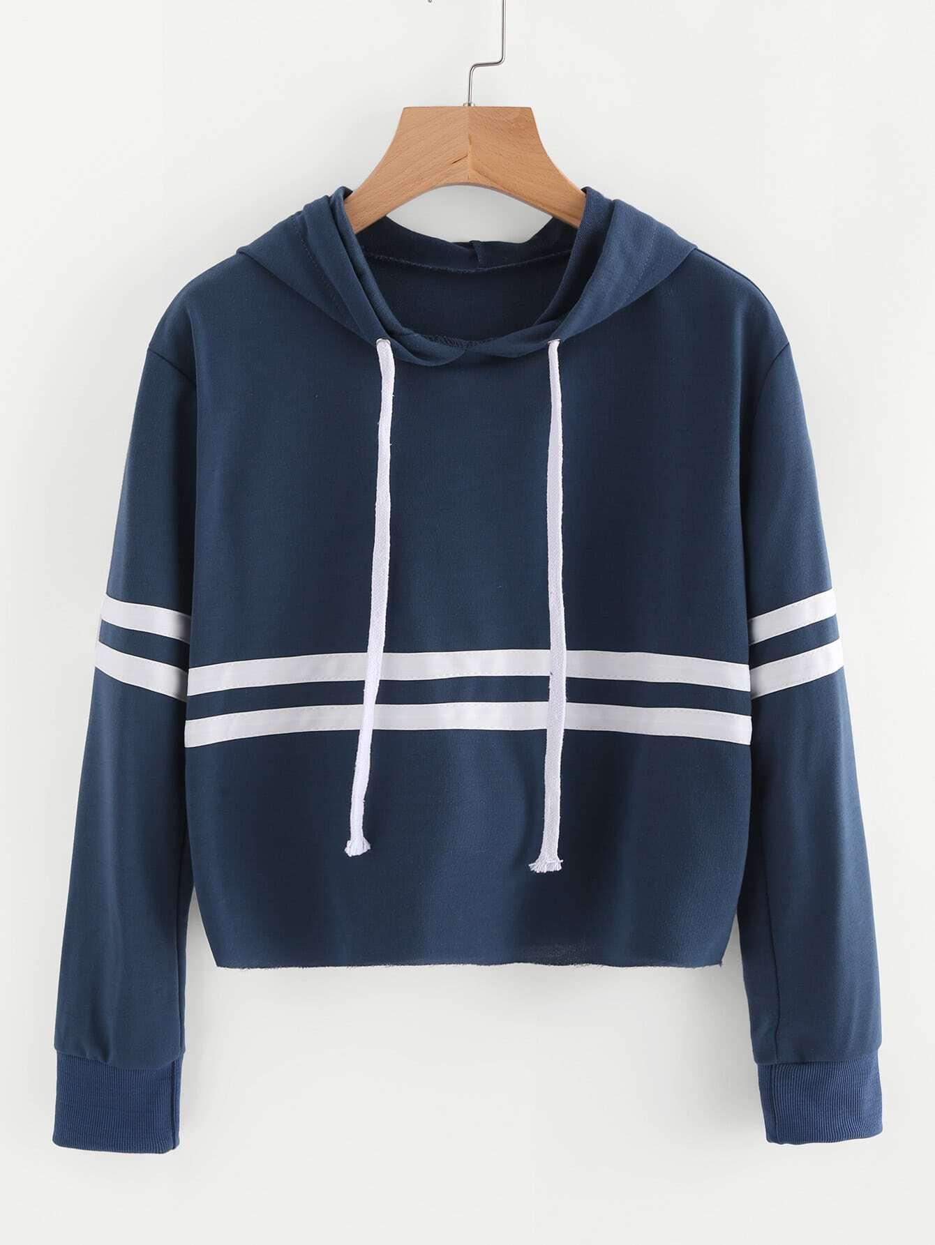 Striped Trim Drawstring Hoodie kids drawstring hoodie jacket